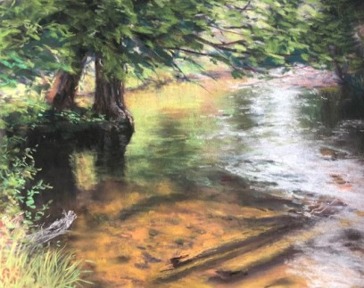 Inlet Reflections pastel 9x12
