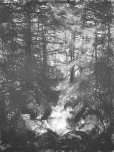The Fringe of The Fire, charcoal on paper 24x18