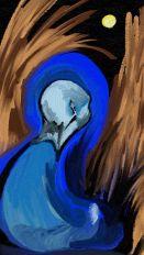 Blue Monk in Wheatfield Under Full Moon